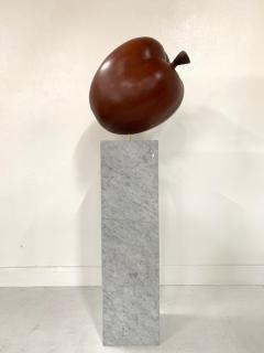 Large Scale Teak Apple Sculpture on Carrara Marble Pedestal - 1137225