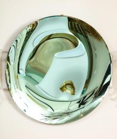 Large Sculptural Round Concave Green Verde Mirror Italy 2021 - 2004411