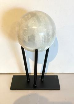 Large Selenite Sphere on Custom Iron Stand - 1771979