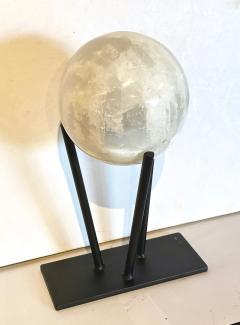 Large Selenite Sphere on Custom Iron Stand - 1771984
