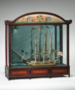 Large Ship Model Displayed in Cabinet - 362451