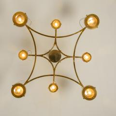 Large Solid Brass and Glass Flush Mount Chandelier Jewel  - 1004925