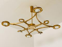 Large Solid Brass and Glass Flush Mount Chandelier Jewel  - 1004928