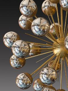 Large Sputnik chandelier in brass with glass mirror globes - 904097