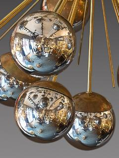 Large Sputnik chandelier in brass with glass mirror globes - 904098
