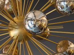 Large Sputnik chandelier in brass with glass mirror globes - 904100