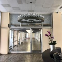 Large Steel Chandeliers by the Office of I M Pei for Kips Bay
