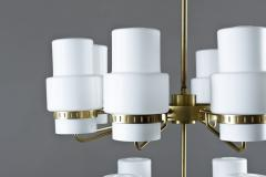 Large Swedish Chandeliers in Brass and Frosted Opaline Glass - 881134