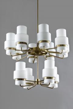 Large Swedish Chandeliers in Brass and Frosted Opaline Glass - 881141