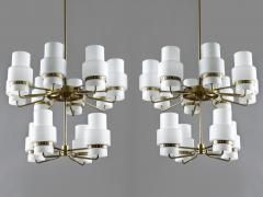 Large Swedish Chandeliers in Brass and Frosted Opaline Glass - 881142