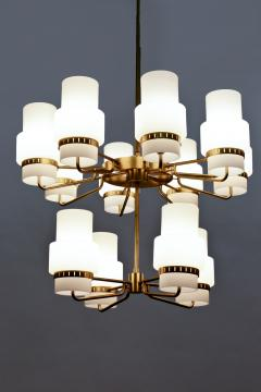 Large Swedish Chandeliers in Brass and Frosted Opaline Glass - 881143