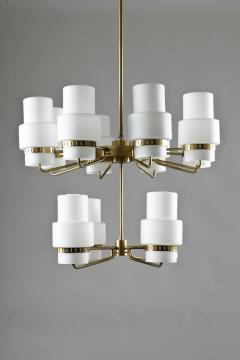 Large Swedish Chandeliers in Brass and Frosted Opaline Glass - 881144