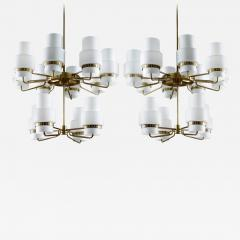 Large Swedish Chandeliers in Brass and Frosted Opaline Glass - 881698