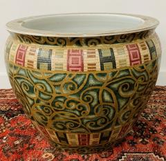 Large Vintage Chinese Green and Gold Jardini re Fish Bowl or Planter - 1646930