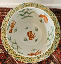 Large Vintage Chinese Green and Gold Jardini re Fish Bowl or Planter - 1646935