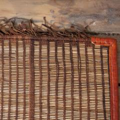 Large Vintage Tuareg Reed and Brown Leather Striped Rug North Africa 1960s - 1843060