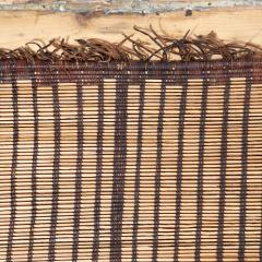 Large Vintage Tuareg Reed and Brown Leather Striped Rug North Africa 1960s - 1843062