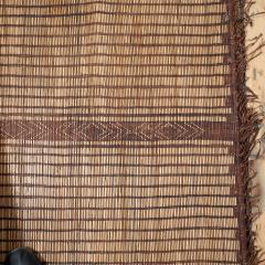 Large Vintage Tuareg Reed and Brown Leather Striped Rug North Africa 1960s - 1843064
