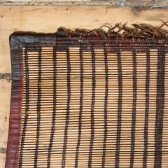 Large Vintage Tuareg Reed and Brown Leather Striped Rug North Africa 1960s - 1843065