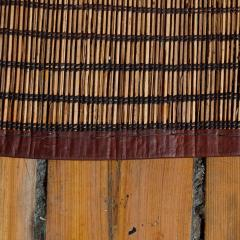 Large Vintage Tuareg Reed and Brown Leather Striped Rug North Africa 1960s - 1843066