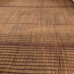 Large Vintage Tuareg Reed and Brown Leather Striped Rug North Africa 1960s - 1843067