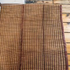 Large Vintage Tuareg Reed and Brown Leather Striped Rug North Africa 1960s - 1843068