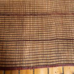 Large Vintage Tuareg Reed and Brown Leather Striped Rug North Africa 1960s - 1843069