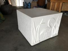 Large White Cube Pedestal Side Tables w Crane Relief Pair 1980s - 1349000