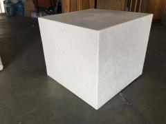 Large White Cube Pedestal Side Tables w Crane Relief Pair 1980s - 1349001
