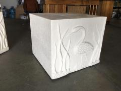 Large White Cube Pedestal Side Tables w Crane Relief Pair 1980s - 1349003