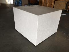 Large White Cube Pedestal Side Tables w Crane Relief Pair 1980s - 1349005