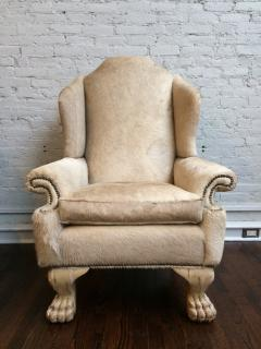 Large Wing Chair Upholstered in Ivory Pony Hide - 249475 & Large Wing Chair Upholstered in Ivory Pony Hide
