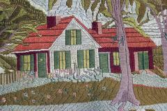 Large Woolwork Picture of a Farmhouse with Palm Trees - 1773308