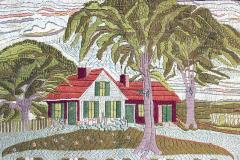 Large Woolwork Picture of a Farmhouse with Palm Trees - 1773309