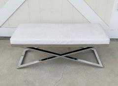 Large X Frame Bench with Faux Crocodile Upholstery - 1831191