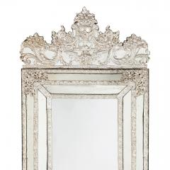 Large antique French silvered rectangular mirror - 1577218