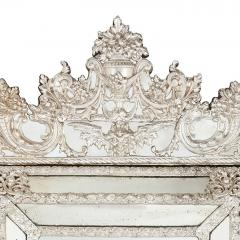 Large antique French silvered rectangular mirror - 1577220
