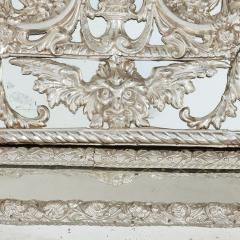 Large antique French silvered rectangular mirror - 1577223