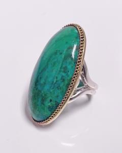 Large blue green Turquoise cabochon custom Ring - 2115177
