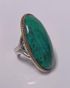 Large blue green Turquoise cabochon custom Ring - 2115178