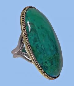 Large blue green Turquoise cabochon custom Ring - 2115182