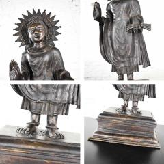 Large bronze tibetan standing buddha sculpture with halo patinated - 1682268