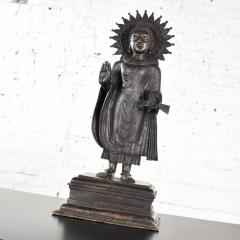 Large bronze tibetan standing buddha sculpture with halo patinated - 1682273