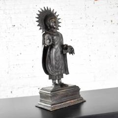 Large bronze tibetan standing buddha sculpture with halo patinated - 1682299