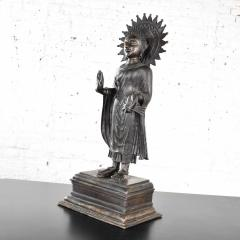 Large bronze tibetan standing buddha sculpture with halo patinated - 1682300
