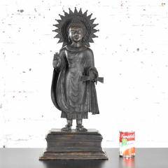 Large bronze tibetan standing buddha sculpture with halo patinated - 1682325