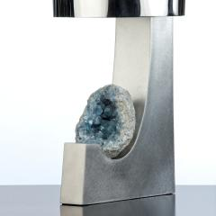 Large brushed and polished steel table lamp with celestite mineral detail  - 2066505