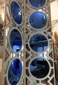 Large folding screen in lacquered wood and mirror France 1970 - 1018629