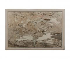 Large framed Japanese Embroidery Textile Panel Meiji Period - 1124811
