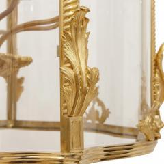Large glass and gilt bronze hanging hall lantern - 1577243